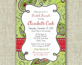 Christmas Bridal Shower Holiday Red Green Paisley Invitation Invite Digital-  by girls at play Etsy girlsatplay