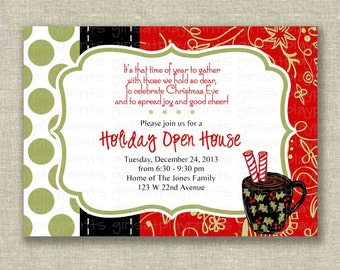 Holiday Open House Invitation Christmas Cookie Polka Dots Digital -  by girls at play Etsy girlsatplay