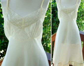 IVORY 1940's Vintage White Rayon Slip with Lace Details and Embroidery size 36 38