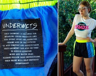 SURF'S UP 1980's 90's Vintage Neon Yellow Blue Surfer Swim Shorts size Medium // by Catalina