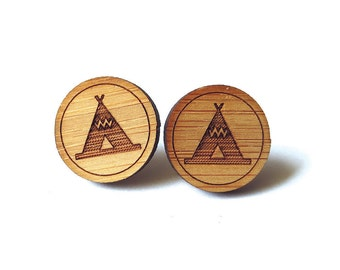 Teepee Tent Earrings. Tent Earrings. Wood Earrings. Stud Earrings. Laser Cut Earrings. Bamboo Earrings. Gifts For Her. Gift For Women.