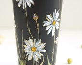 Hand Painted Black CeramicTravel Mug with Lid - White & Gold Daisies - Botanical Collection