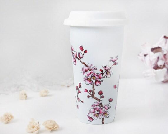 Eco-Friendly  Painted Ceramic Travel Mug - Cherry Blossoms