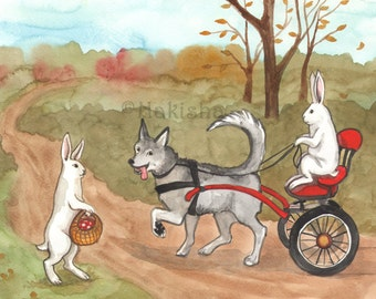 Original Art - Dog Cart - Watercolor Rabbit Painting
