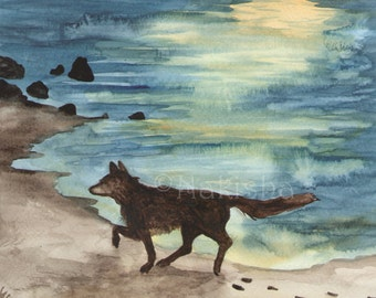 Original Art - The Eight of Foxes - Watercolor Fox Painting -The Badgers Forest Tarot