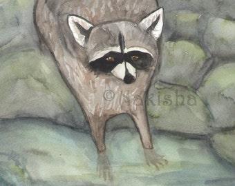 Original Art - The Magician - Watercolor Raccoon Painting -The Badgers Forest Tarot