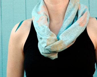 Clearance --Jersey Cowl Scarf Handprinted with Appetite's Plume Print
