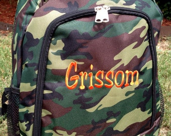 Camo Backpack Includes Monogrammed Name or Initials of Your Choice