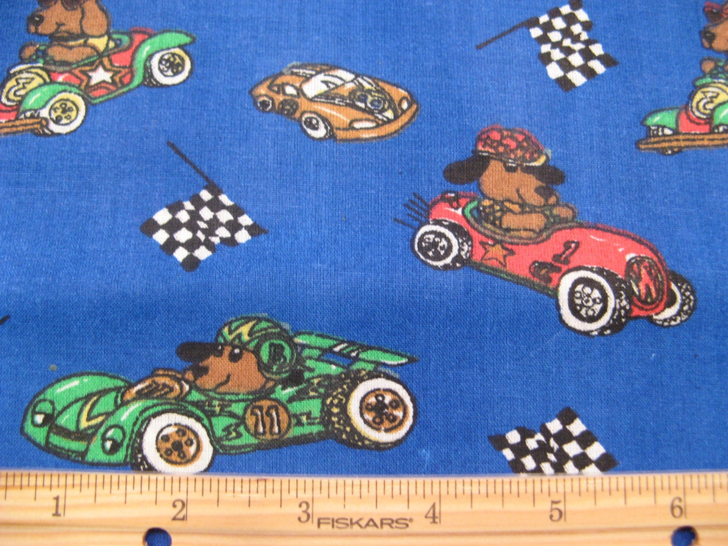 Fat quarter children 39 s novelty fabric dogs in racecars for Kids novelty fabric