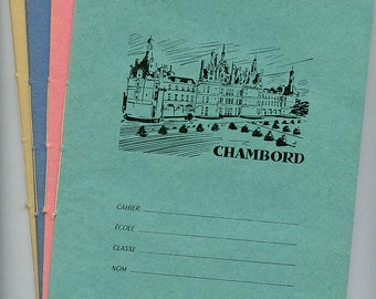 Vintage FRENCH Cahier Notebook (1) Subject Class New Old Stock CHAMBORD CASTLE Loire Valley qz