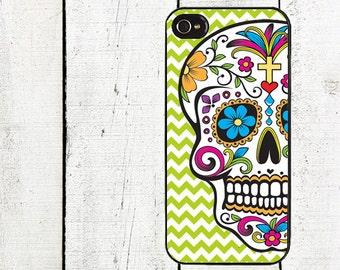 iphone 6 case Sugar Skull iPhone Case - Lime Green Chevron