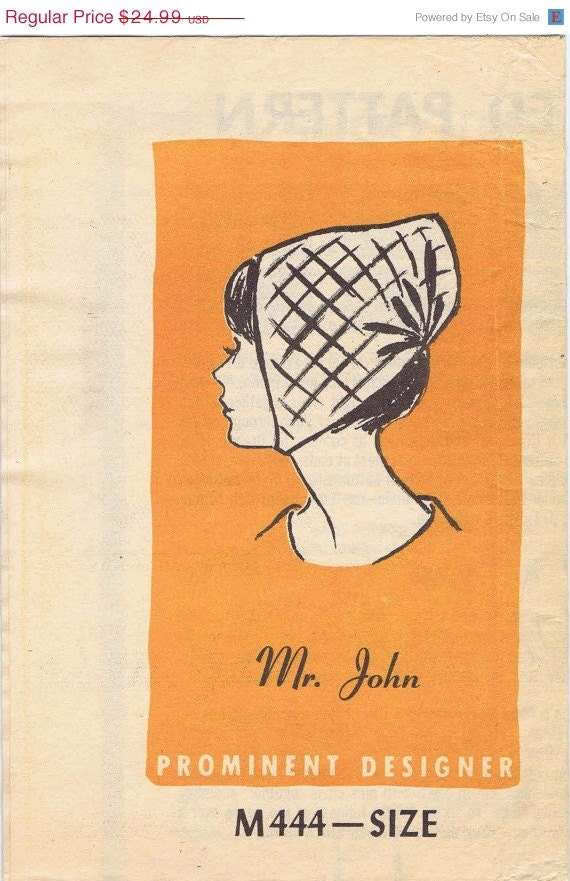 SALE Baby Cap Hat Prominent Designer Mr. John M444 Mail Order Vintage Sewing Pattern UNCUT