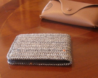 Mens slimline  Wallet,  petroleum blue card slot Gray, Mini Wallet, Speckled Herringbone,  Pinstriped Tweed 7 Pocket Billfold,