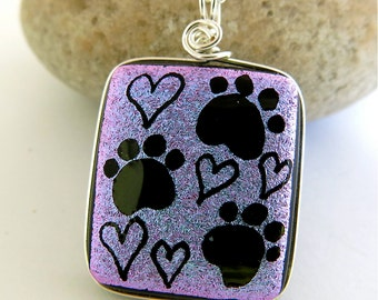 Dichroic Pendant PAWS OF LOVE Hand Etched Dichroic Glass , Fused Glass Pendant, Unique Dichroic