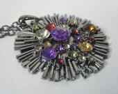 Colorful Rhinestone and Gunmetal Pendant Necklace
