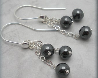 Hematite Dangle Earrings Long Chain Black Sterling Silver Jewelry (SE965)