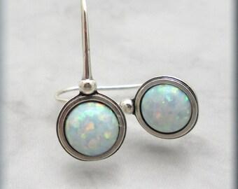 Opal Earrings October Birthstone Gemstone Jewelry Sterling Silver (SE982)