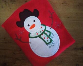 SALE Ready to Ship Red Christmas Cowboy Snowman Appliquéd Tee Size 18m
