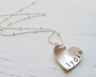 Heart Name Necklace Silver Heart Necklace I Heart You Necklace Sideways Heart Necklace Gifts for Moms Personalized Necklaces Name Necklace