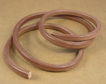 Leather Licorice Cord - Tan - 1 meter x 10mm x 7mm / 39 inches x 5/16 inch / great for stamping