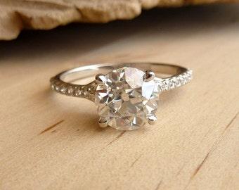 Filigree Moissanite and Diamond Half Eternity Ring