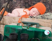 safety orange hunting fishing ear flap hat newborn baby boy photography prop