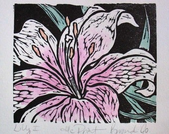LILY 1 hand colored wood block print of lily