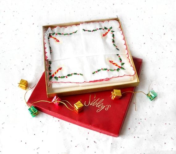 Vintage Desco Christmas Hankie, Candle Holly Handkerchief, Switzerland, Sibleys Box