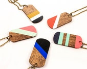 Chola Brite Dog Tags/ Wood Pendant/ Antique Brass Ball Chain/ Painted Nautical Stripes/ Neon/ Layering/ Angle/ Unisex Necklace