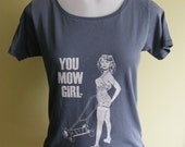 Bathing Beauty- You Mow Girl Womens Graphic Tee-Soft Cotton- Hand Printed- Turquoise Blue- Summer Fashion- 10 dollar SALE
