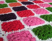 Granny Square Afghan for  Baby Girl Hand Crochet Ready to Ship
