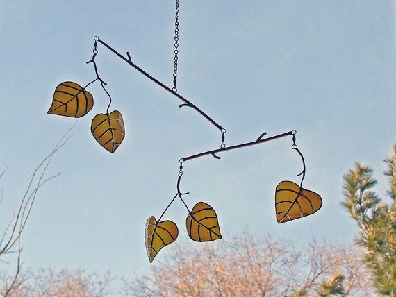 Aspen Leaf Mobile from Reclaimed Amber Bottle Glass