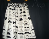 Extra full SKIRT  - Alexander Henry - Mustache - Pick the size Newborn up to 14 Years by Boutique Mia