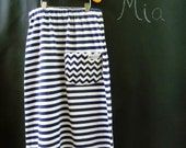 Soft Jersey Knit Maxi SKIRT with POCKET - Nautical - Pick the size Newborn up to 14 Years by Boutique Mia