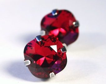 RARE Ruby Red Crystal Stud Earrings Classic Sparkling Cranberry Wine Garnet Solitaire Swarovski 12mm Sterling Silver Post - Women's Jewelry