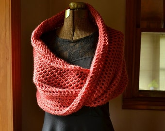 Wool Mobius Wrap Capelet Shawl Cowl or Scarf in Wild Rose Heather
