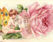Butterfly Wings Boy DIGITAL Download Printable Antique Postcard Digital Print Token of Love Painting a ROSE