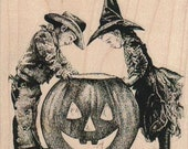 Halloween Rubber stamp  boys and pumpkins jack O lanterns    scrapbooking supplies number 19209