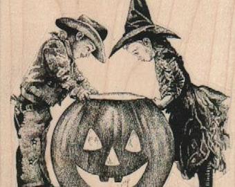 Halloween Rubber stamp  boys and pumpkins jack O lanterns    scrapbooking supplies number 19209