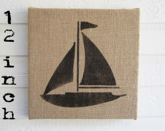 Sail Away -  Burlap covered Cork Message Board 12 inch - Sailboat memo board, pin board, bulletin board, Nautical Sailboat Wall Decor