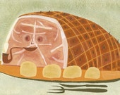 mod food art - Glazed Ham.  Limited edition 8.5x11 print by Matte Stephens
