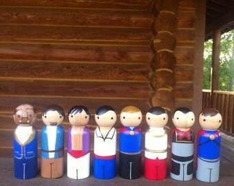 Prince set of 8- Pegbuddies Wood Peg Doll Peg People Birthday Cake Topper