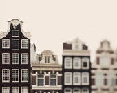 Canal Houses, Amsterdam Photography, Travel, Europe, Whimsical Minimal Architecture, Windows, Neutral Brown Home Decor 8x8 - The Town