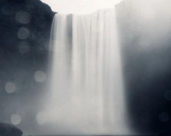 Landscape Photography, Waterfall Photo, Skogafoss Iceland, Nature Photography, Minimalist Art, Blue Wall Art, 8x8 - A Fall of Water