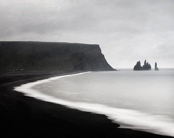 "Nordic Landscape Photography, Minimalist Black and White Photography, Iceland Landscape Print, Modern Scandinavian Art ""Ash and Lava"""