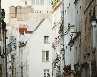 Paris Print Le Marais Street Scene White Wall Art Prints Paris Photography