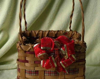 Festive Red and Brown Holiday Shopping Bag Basket