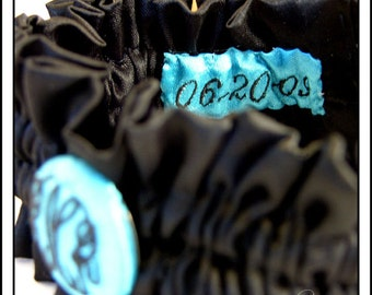 Wedding Garter Satin with Monogram Embroidery and date patch