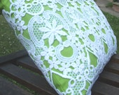Tote Bag - Citrus - lime green cotton bag covered with vintage lace - reusable shopping bag