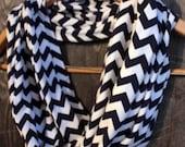 Navy Blue & White Chevron Jersey Knit Infinity Scarf